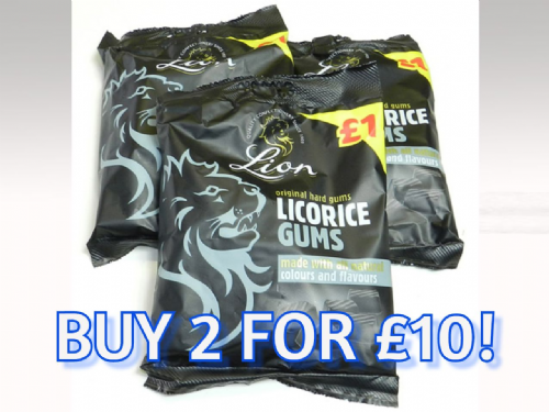 LI04 PRE-PACK LION LICORICE GUMS 12x150g( 2 FOR £10 )